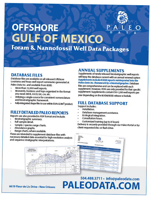 Offshore Gulf of Mexico Foram & Nannofossil Well Data Packages - Paleo Data Inc.